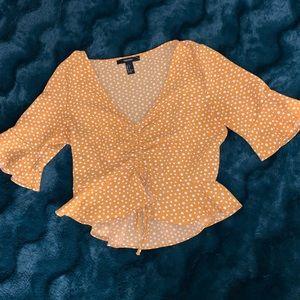 Yellow polka dot cropped blouse